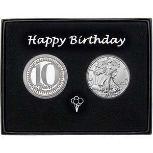 10 Years! Happy Birthday Silver Round and Silver American Eagle 2pc Gift Set