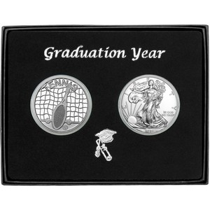 Graduation 2020 Tennis Athlete Silver Round and Silver American Eagle 2pc Gift Set