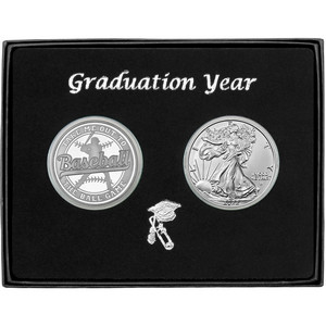 Graduation 2019 Baseball Athlete Silver Round and Silver American Eagle 2pc Gift Set