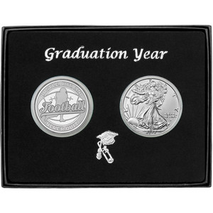 Graduation 2019 Football Athlete Silver Round and Silver American Eagle 2pc Gift Set