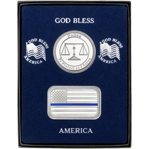 Enameled Blue Line American Flag Silver Bar and Police Silver Medallion 2pc Gift Set