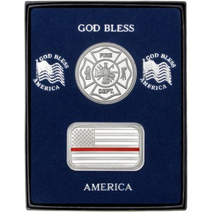 Enameled Red Line American Flag Silver Bar and Fire Department Silver Medallion 2pc Gift Set