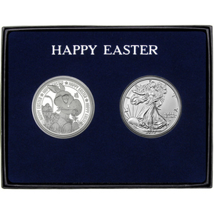 Happy Easter Bunny Rabbit Silver Round and Silver American Eagle 2pc Gift Set