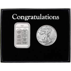 Ten Commandments Silver Bar and Silver American Eagle 2pc Gift Set