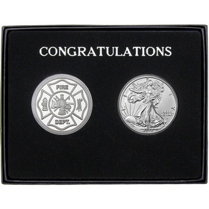 Congratulations Fire Department Silver Round and Silver American Eagle 2pc Gift Set