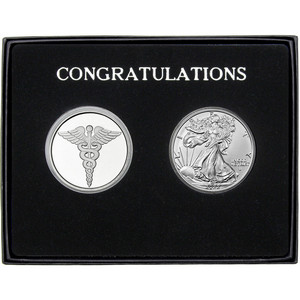 Congratulations Medical Silver Round and Silver American Eagle 2pc Gift Set
