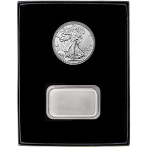 Blank Silver Bar and Silver American Eagle 2pc Gift Set