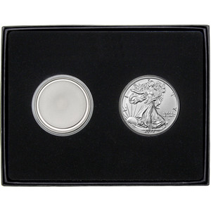 Blank Silver Medallion and Silver American Eagle 2pc Gift Set