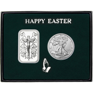 Happy Easter Jesus on the Cross Silver Bar and Silver American Eagle 2pc Gift Set