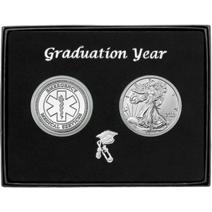 Graduation Year EMS Silver Round and Silver American Eagle 2pc Gift Set