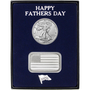 Happy Father's Day American Flag Bar and Silver American Eagle 2pc Gift Set