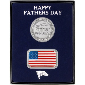 Happy Father's Day My Father My Hero Silver Round and Enameled Flag Bar 2pc Gift Set