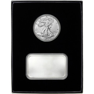 Blank 5oz Silver Bar and Silver American Eagle 2pc Gift Set