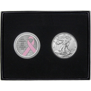 Pink Breast Cancer Awareness Ribbon Silver Medallion Enameled and Silver American Eagle 2pc Gift Set