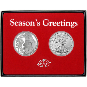Season's Greetings Sledding Snowman Silver Round and Silver American Eagle 2pc Box Gift Set