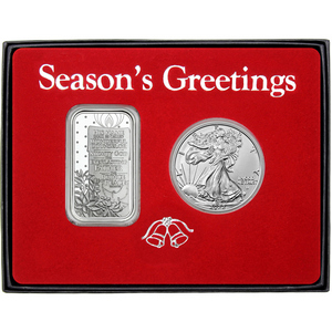 Season's Greetings Home for the Holidays Cardinals Silver Bar and Silver American Eagle 2pc Box Gift Set