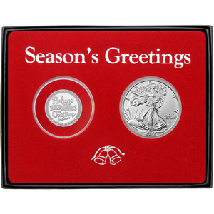 Season's Greetings Believe in the Magic of Christmas Half Ounce Silver Round and Silver American Eagle 2pc Box Gift Set