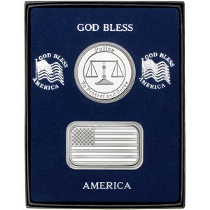 American Flag Silver Bar and Police Silver Medallion 2pc Gift Set