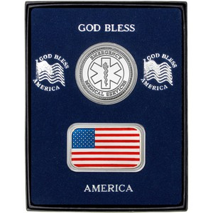 Enameled American Flag Silver Bar and EMS Silver Round 2pc Gift Set
