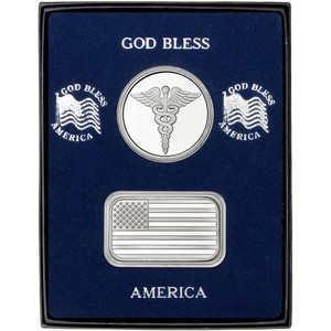 American Flag Silver Bar and Medical Silver Round 2pc Gift Set