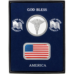 Enameled American Flag Silver Bar and Medical Silver Round 2pc Gift Set