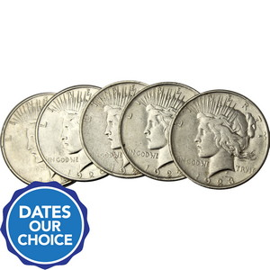 Cull Silver Peace Dollar Date Our Choice 5pc