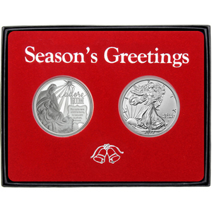 Season's Greetings Holy Family Nativity Silver Round and Silver American Eagle 2pc Box Gift Set