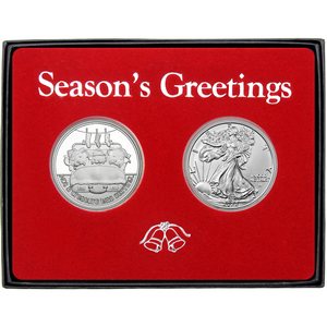 Season's Greetings Sweet Wishes Gingerbread Man Silver Round and Silver American Eagle 2pc Box Gift Set