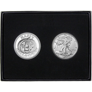Halloween Pumpkin Silver Round and Silver American Eagle 2pc Gift Set
