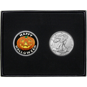 Halloween Pumpkin Enameled Silver Round and Silver American Eagle 2pc Gift Set