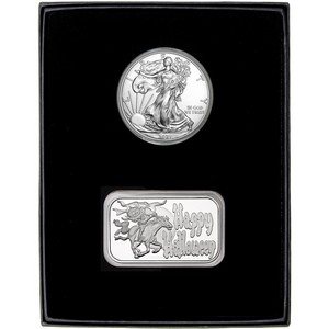 Halloween Headless Horseman Silver Bar and Silver American Eagle 2pc Gift Set