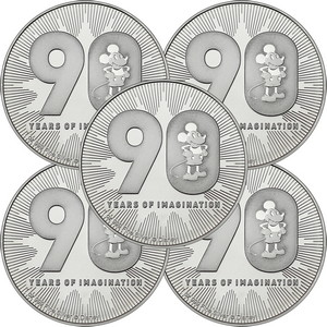 2018 Niue Silver Disney Mickey Mouse 90th Anniversary 1oz BU Coin 5pc