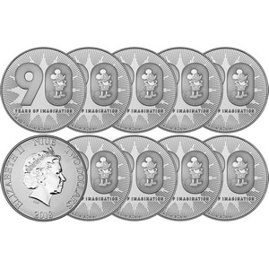 2018 Niue Silver Disney Mickey Mouse 90th Anniversary 1oz BU Coin 10pc