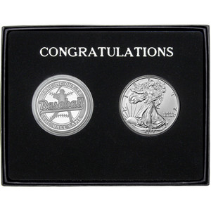 Congratulations Baseball Athlete Silver Round and Silver American Eagle 2pc Gift Set