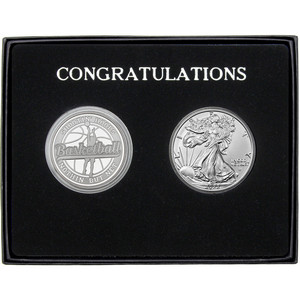 Congratulations Basketball Athlete Silver Round and Silver American Eagle 2pc Gift Set