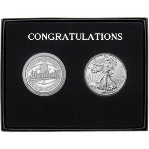 Congratulations Football Athlete Silver Round and Silver American Eagle 2pc Gift Set