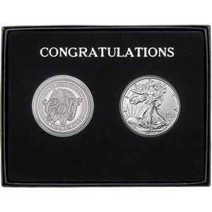 Congratulations Golf Athlete Silver Round and Silver American Eagle 2pc Gift Set