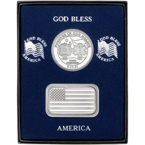 9/11 Tribute Silver Medallion and American Flag Silver Bar 2pc Gift Set