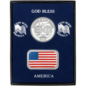 9/11 Tribute Silver Medallion and Enameled American Flag Silver Bar 2pc Gift Set