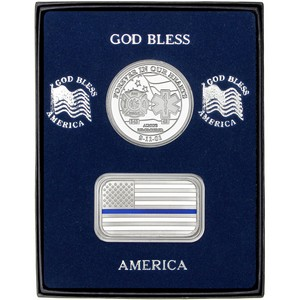 9/11 Tribute Silver Medallion and Blue Line Enameled American Flag Silver Bar 2pc Gift Set