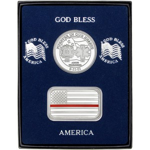 9/11 Tribute Silver Medallion and Red Line Enameled American Flag Silver Bar 2pc Gift Set