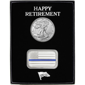 Happy Retirement Enameled Blue Line American Flag Silver Bar and Silver American Eagle 2pc Gift Set