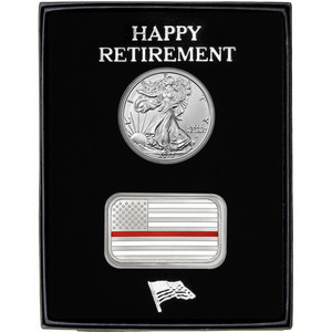 Happy Retirement Enameled Red Line American Flag Silver Bar and Silver American Eagle 2pc Gift Set