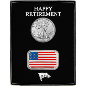 Happy Retirement Enameled American Flag Silver Bar and Silver American Eagle 2pc Gift Set
