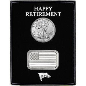 Happy Retirement American Flag Silver Bar and Silver American Eagle 2pc Gift Set