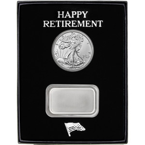 Happy Retirement Blank Silver Bar and Silver American Eagle 2pc Gift Set