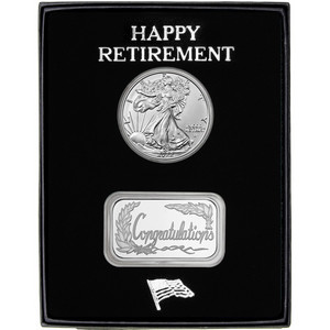 Happy Retirement Congratulations Silver Bar and Silver American Eagle 2pc Gift Set