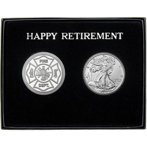 Happy Retirement Fire Department Silver Round and Silver American Eagle 2pc Gift Set