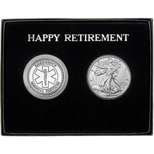 Happy Retirement EMS Silver Round and Silver American Eagle 2pc Gift Set