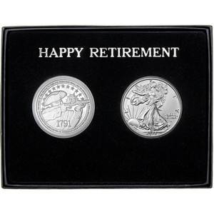 Happy Retirement 2nd Amendment Silver Round and Silver American Eagle 2pc Gift Set